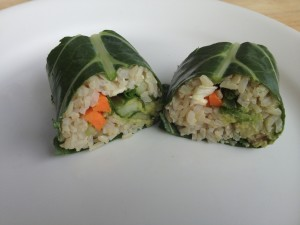 Collard green sushi roll